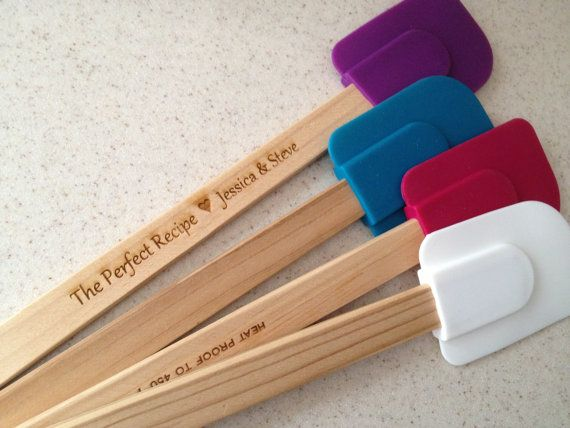 Engraved Wooden Spatula, Bridal Shower Favor, Tupperware Party, Wedding Gift on Etsy, $6.94 CAD