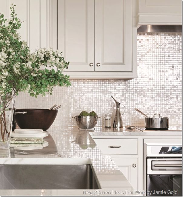 Contemporary Kitchen Shimmer Backsplash | New Kitchen Ideas That Work by Jamie Gold