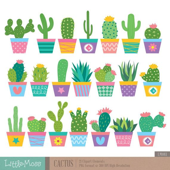 Cactus Clipart by LittleMoss on Etsy