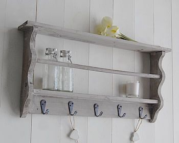 Grey wood wall shlef in vintage finish with hooks