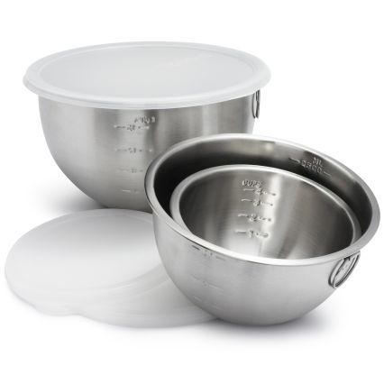 Stainless steel mixing bowls with lids set of 3 sur la for Sur la table mixing bowls