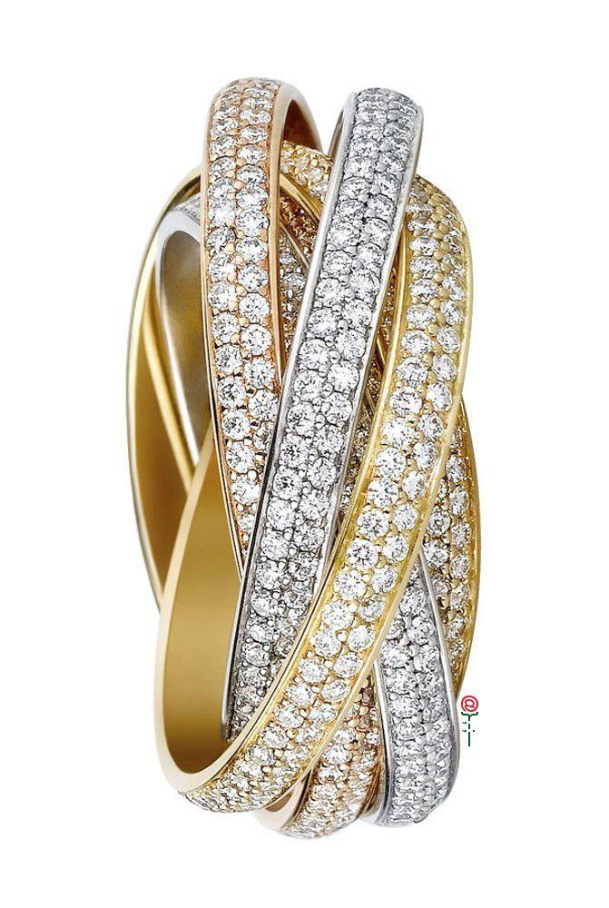 Anello in oro giallo, bianco e diamanti di Cartier