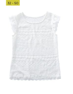 white lace front shell top