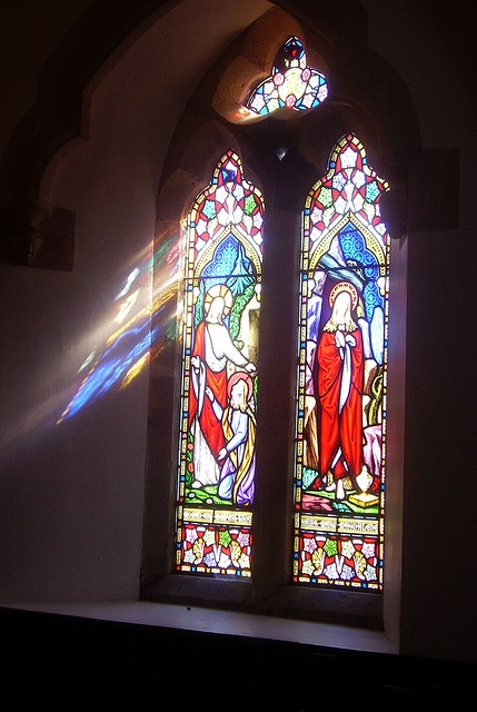 Church, Mortehoe, sun through the windows in early spring.