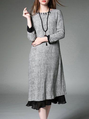 Gray Plain H-line Casual Midi Dress