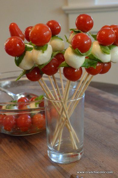"tomato mozzarella skewers...love the look ""standing up"""