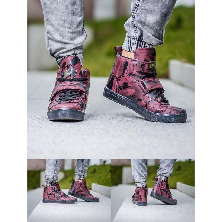Pánske štýlové členkové topánky červenej