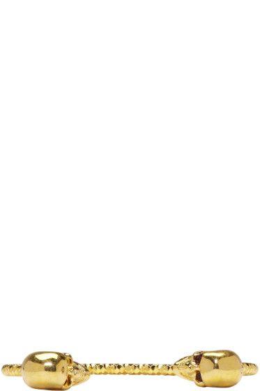Alexander McQueen - ゴールド ツイン スカル ブレスレット