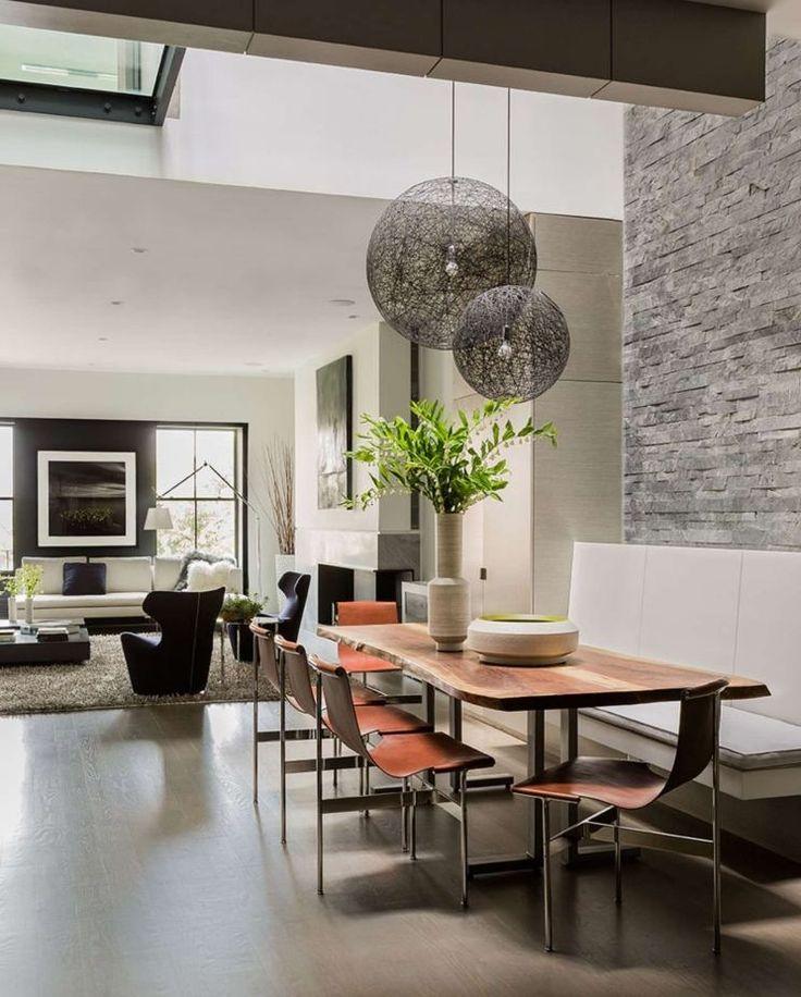 meubles salle à manger contemporains et suspensions sphères