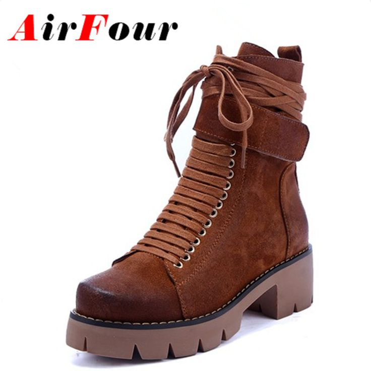 Cheap shoes girls boots, Buy Quality boot shoe tree directly from China shoes and boots Suppliers: Airfour Black Motorcycle Boots Shoes Woman Square Heels Round Toe Lace-up Spring and Autumn High Quality Ankle Boots for Women