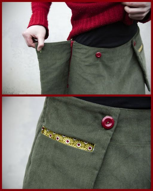Outside pocket to hide the zipper of a skirt.