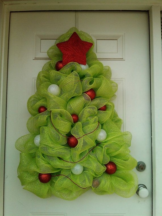 Christmas Tree Wreath Deco Mesh Christmas Tree by DitzyDesign #DIY #crafts