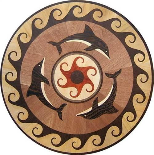 Dolphin Wood Inlays : Best compass rose and nautical medallions for flooring