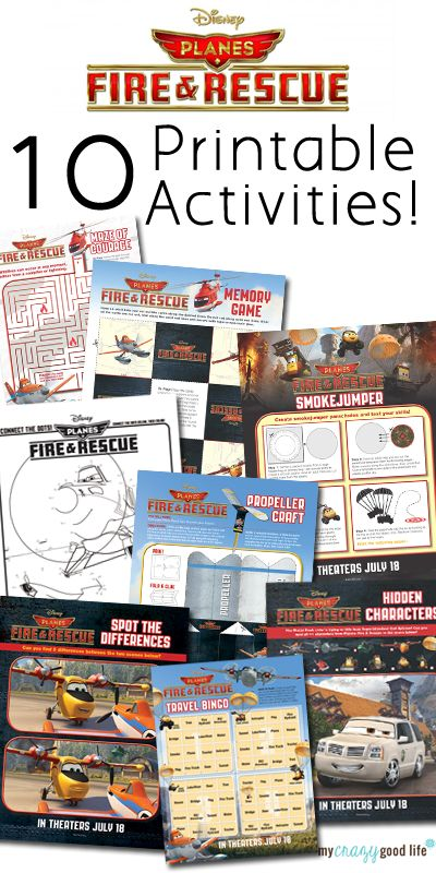 10 Printable Planes Fire and Rescue Activity Sheets - My Crazy Good Life