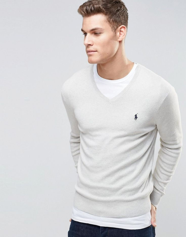 Polo+Ralph+Lauren+Jumper+With+V-Neck+In+Grey