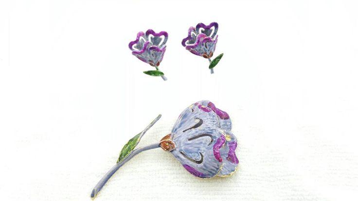 Art Signed Purple Crocus Enamel Brooch and Clip Earrings Floral set #jewellery #jewelleryset