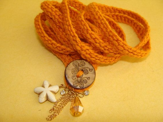 Handmade Crochet Wrap Charm Bracelet Orange Color with Button Buckle and Charm Accessories, Modern Bracelet, Youthful Bracelet