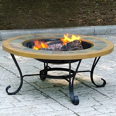 Uniflame Slate Tile   Faux Wood Outdoor Firebowl. This Blue Rhino Outdoor  Wood Burning Firepit