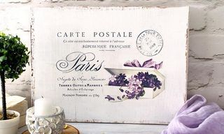 DIY Shabby French Postcard Sign project & free printable!