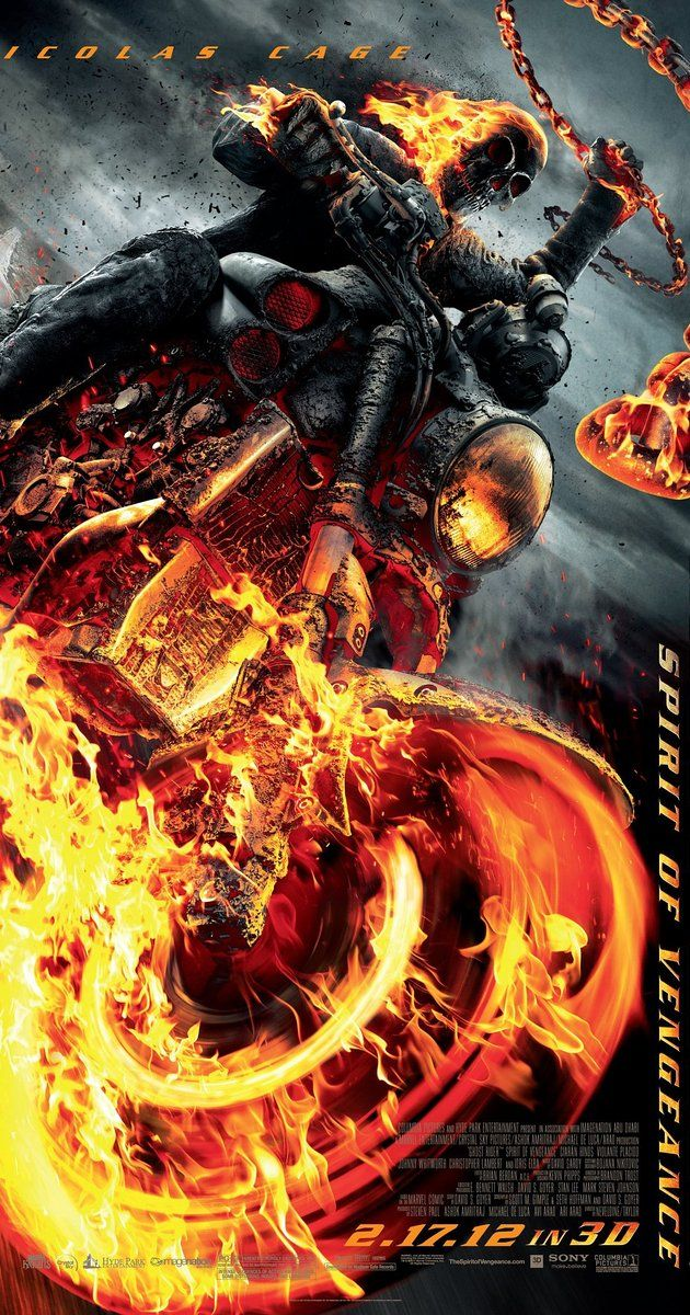 Directed by Mark Neveldine, Brian Taylor.  With Nicolas Cage, Ciarán Hinds, Idris Elba, Violante Placido. As Johnny Blaze hides out in Eastern Europe, he is called upon to stop the devil, who is trying to take human form.