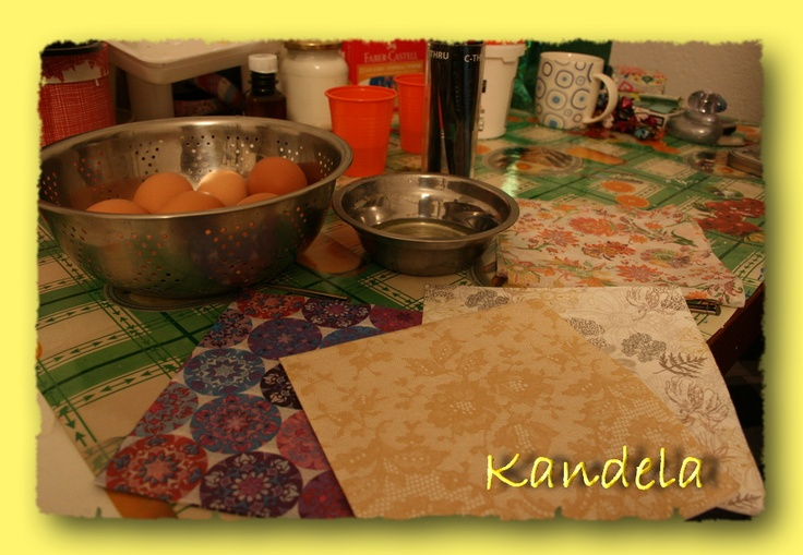 eggs and napkins prepared for decoupage, by Kandela