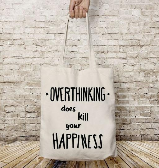 Cotton tote bag overthinking printable quotes gift for