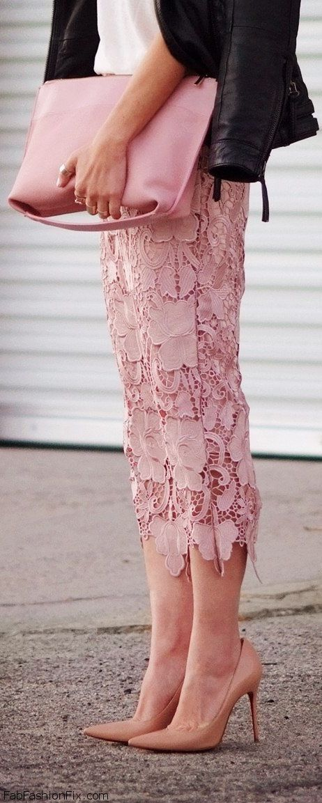 Nude pointed heels and pink lace skirt for fab spring look
