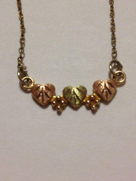 Black Hills Gold Necklace Black Hills Gold Necklace 10k Hearts Rose Yellow Leaves Leaf Vin Black Hills Gold Jewelry Black Hills Gold Yellow Gold Heart Necklace