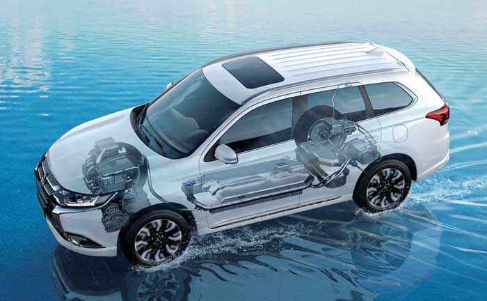 Outlander PHEV engine and drive train