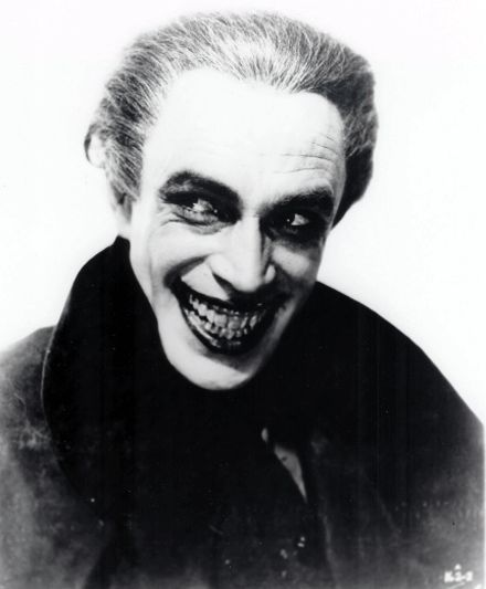 Comic book artist Bob Kane, writer Bill Finger and artist Jerry Robinson used stills like this one of Conrad Veidt in The Man Who Laughs as inspiration for the iconic supervillain The Joker. The creators have long disputed who actually came up with the character.