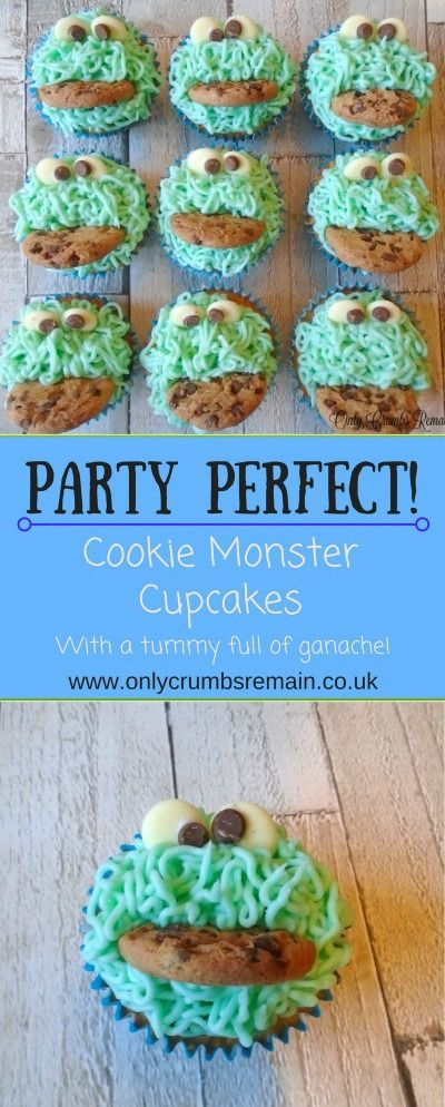 These Cookie Monster cupcakes with a full tummy of ganache, are an easy and fun bake perfect for children's parties, family get-togethers and charity bake sales.