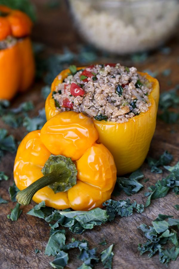 Quinoa stuffed peppers recipe - Pickled Plum    |     Save and organize recipes from anywhere on your iPhone or iPad with @RecipeTin – without typing them in! Find out more here: www.recipetinapp.com      #recipes #vegan