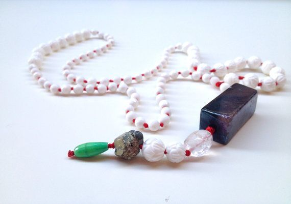 Statement Pendant Beaded Rosario Necklece  Coral by InesAnaisRain