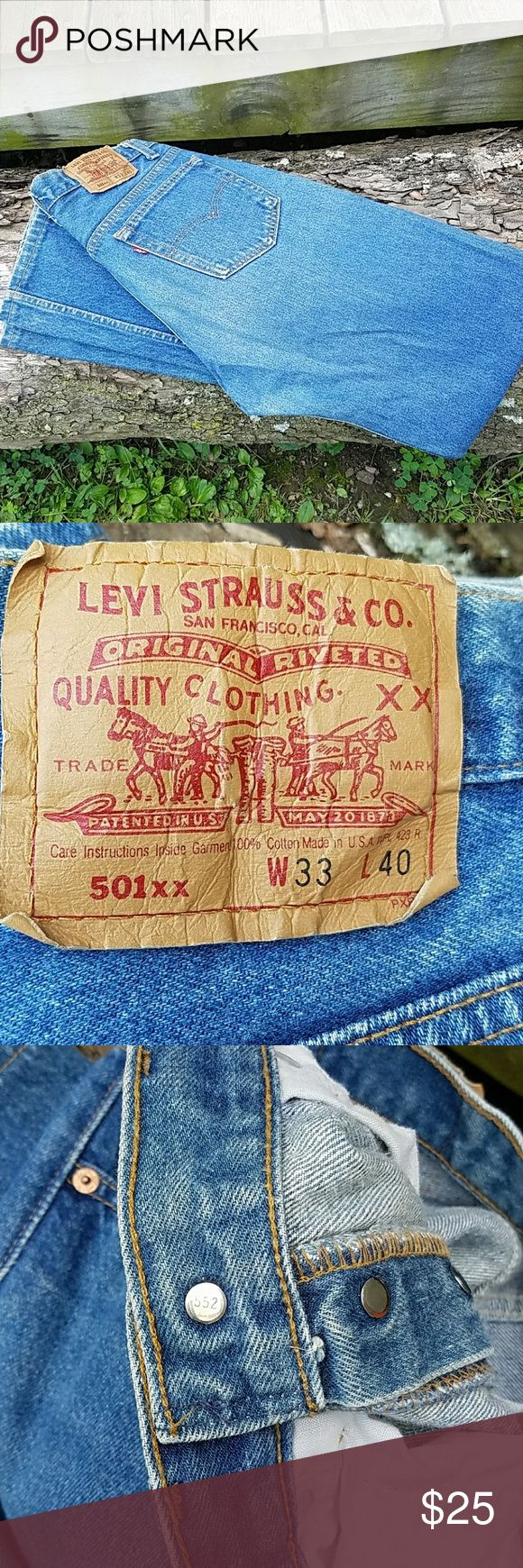 "80's Vintage Levi's 501XX Jeans #522 size 30/35 Excellent condition. Vintage Levi's 501XX button fly jeans made in USA in the 80's. #522 on back of top button. Tagged 33/40. Actual waist measurement is between 30-30.5"". Inseam is right at 35"". Levi's Jeans Straight"