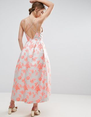 ASOS SALON Jacquard Strap Back Midi Prom Dress