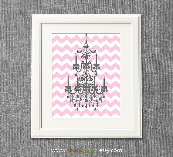 Love this, cute but simple https://www.etsy.com/listing/173758453/pink-and-grey-chandelier-kids-art-print