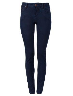 Dark Denim Side Button Skinny Jeans