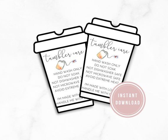 Cup Care Card Starbucks Care Instruction And Cleaning Card Etsy Small Business Cards Business Thank You Cards Template Printable
