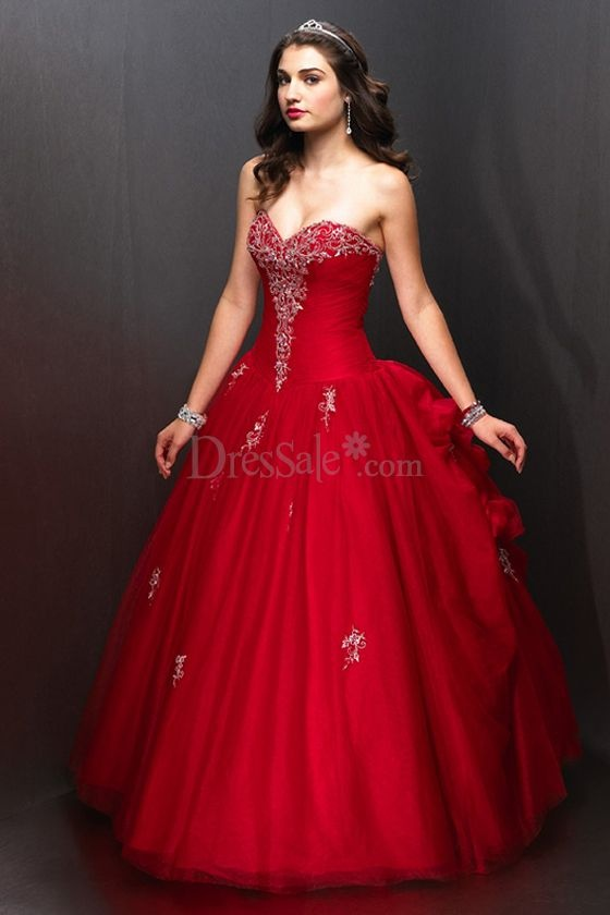 Bright Red Evening Wedding Gown with Elegant Lace-up Details...