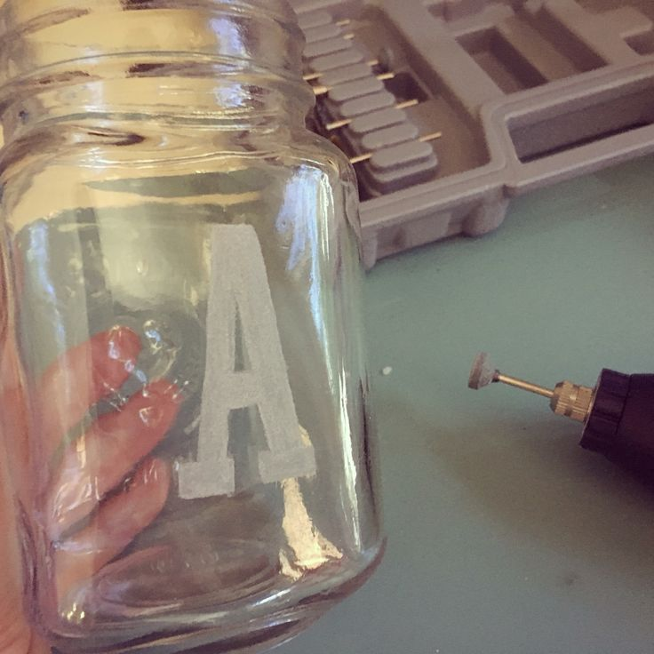 Etched glass - personalise drinking jar