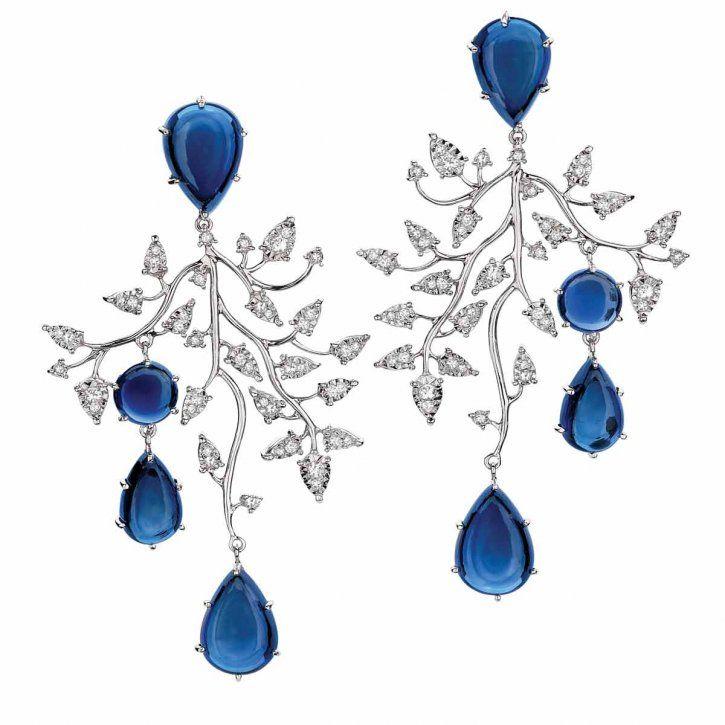 Topaz and diamond earrings by Brumani