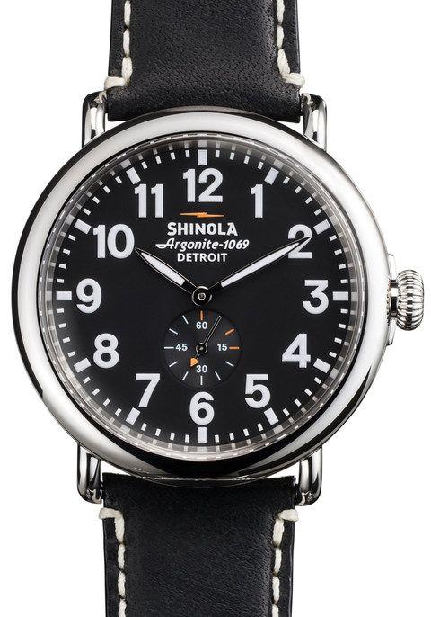 Shinola Runwell 47mm, Black Dial, Black Leather Strap