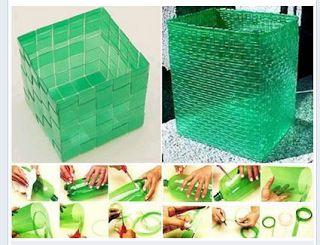 BOLSO HECHO CON BOTELLAS DE PLÁSTICO  Materiales:    Tijera  Alicate o pinza  Elásticos  Cinta adhesiva  Botellas de plástico  Molde (puede...