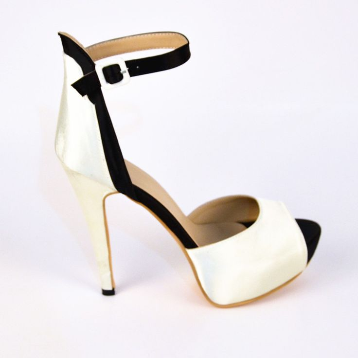 Summer Peep Toe Two-piece Black and White Woman Pumps Thin High Heel Ankle Strap Buckle 2015 New Style Handmade Patent Leather