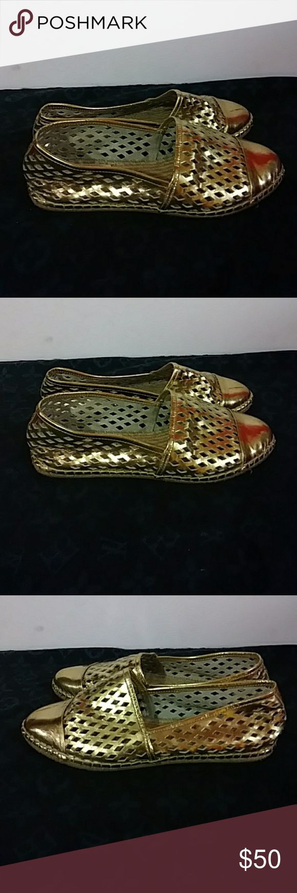 Loeffler Randall gold espadrilles They are in great condition see pictures please .... Gorgeous Shoes Espadrilles