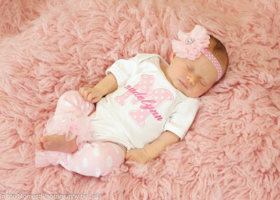 This baby girl pink white dot personalized monogrammed applique bodysuit or gown makes a sweet baby gift set. It would be a perfect set for baby