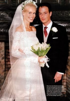 Claudia Schieffer at her wedding on 25 May 2002, when she married the film director Matthew Vaughn in Suffolk