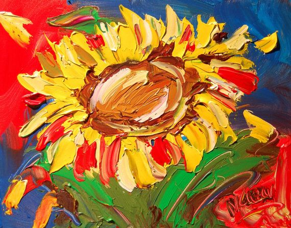SUNFLOWERS  original oil painting by Mark Kazav on stretched