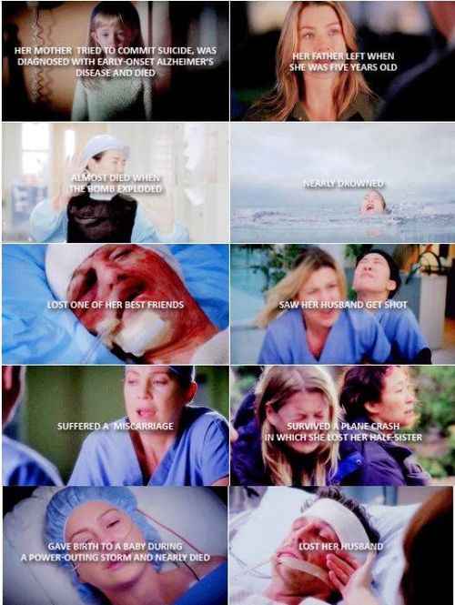 Meredith is so strong. I thought the losing the love of her life,the father of her three children would break her but it didn't. All I want is half of her strength.