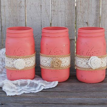 Lora, Anything I Pin You Don't Care For. You Can Unpin It. mint and coral rustic room | Rustic coral mason jars More